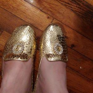 Joan Boyce Gold Faux Metallic Snakeskin Ballet fl